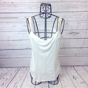 Express Cream Beaded Strap Tank